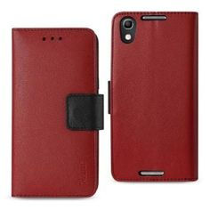 Reiko Alcatel Idol 4 5.2in 3-in-1 Wallet Case Red With Interior Leather Polymer And Stand Function