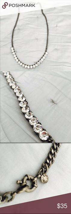 J.crew jewel necklace Beautiful dark silver j.crew necklace with sparkling jewels. Can be used to dress up a casual outfit or as a perfect accessory to formal wear. Gently used in amazing condition J. Crew Jewelry Necklaces