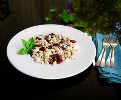 φασόλια σαλάτα με φέτα & βασιλικό Pasta Salad, Feta, Ethnic Recipes, Crab Pasta Salad