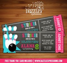 Printable Chalkboard Girl Bowling Ticket Birthday Invitation | Digital File | Girl Birthday Party Idea | FREE thank you card | Party Package Available |  Banner | Cupcake Toppers | Favor Tag | Food and Drink Labels | Signs |  Candy Bar Wrapper | www.dazzleexpressions.com
