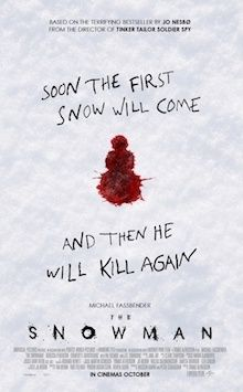 The Snowman, based on a bestselling novel, is about a police detective who is sent to investigate a missing persons case after a scarf is found wrapped around a snowman.