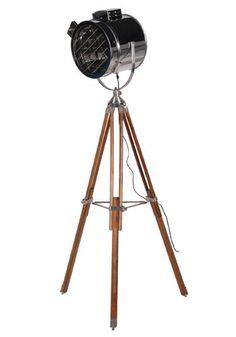 Chrome / Wood Tripod Floor Standing Light