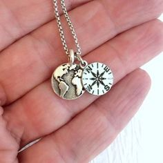 Earth and Compass necklace, silver charm pendant world planet globe travel gift simple pewter minimal tiny graduation gifts
