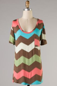 Pink and Brown Chevron Pocket Tunic Top....I would wear this for maternity wear like, daily.