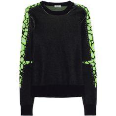 KENZO Leopard-intarsia cotton-blend sweater - Polyvore