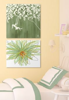 """Tween girl's room wall display with digital floral art brings to life many of the little details found in nature. See more of these green floral canvas prints, """"Summer at the Cottage I"""" by Kelsey Hochstatter and """"Summer Gerbera"""" by Jan Weis, at GreatBIGCanvas.com."""