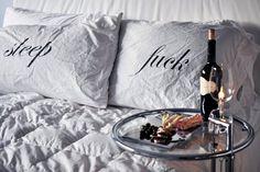 Kiki De Montparnasse 'sleep' 'f*ck' pillows by luxirare Kiki De Montparnasse, Valentines Day Gifts For Her, Pillow Talk, Funny, Hilarious, Bed Pillows, Accent Pillows, Cushions, Pillow Cases