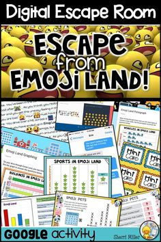 Students will LOVE this engaging and fun emoji themed digital escape room breakout for math review of bar graphs, pictographs and line plots! It's perfect for the elementary classroom to develop teamwork, collaboration, and critical thinking. #tpt #math #graphing #digitalescape #escaperoom #digitalbreakout