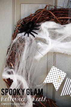 Spooky Glam Halloween Wreath at Sweet Rose Studio