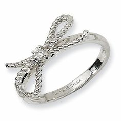 Sterling Silver Fancy Bow CZ Ring