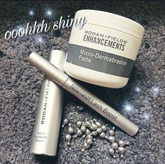 """We also have special shiny silver stuff?! And these are some of my FAVORITE products!  Rodan+Fields ENHANCEMENTS products can be used alongside any regimen or even on their own to """"enhance"""" your skin care routine and natural beauty! ☑️Lash Boost  ☑️Active Hydration Serum ☑️Lip Serum ☑️Microdermabrasion Paste These aren't just """"enhancers"""" they are necessities in my book! You know you want to add some shiny stuff to your skin care routine!"""