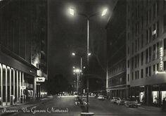 Piacenza: via Genova, in una foto notturna del 1959.