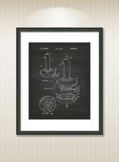 Joystick Controller 1985 Patent Art Illustration - Drawing - Printable INSTANT DOWNLOAD - Get 5 Colors Background #patentartposters