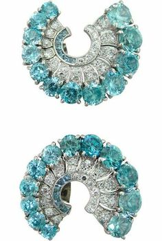 View this item and discover similar for sale at - Metal: Platinum Gemstones: Diamonds - Aquamarine - Zircon - EARRINGS x Weight - Art Deco Earrings, Art Deco Jewelry, Vintage Jewelry, Fine Jewelry, Titanic Jewelry, Art Nouveau, Diamond Earrings, Aquamarine Earrings, Blue Zircon