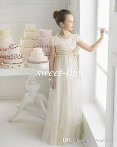 2015 Princess Flower Girl Dresses for Wedding Vintage Lace Short Sleeve Crew Floor Length Sash Little Kids Formal Gowns Girls Pageant Dress Online with $62.2/Piece on Sweet-life's Store | DHgate.com