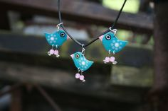 Handmade enameled blue bird charm dangle by HorakovaDesigns, $21.00