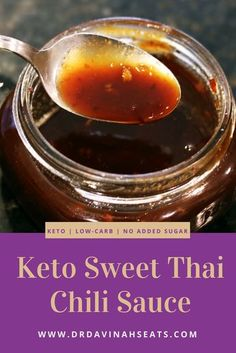 Davinah's Eats A recipe for keto-friendly, low-carb, and no-sugar-added Sweet Chili Sauce. Perfect as a dipping sauce or as a component in keto recipes like Bang Bang Shrimp & Asian Sticky Chicken Wings Sauce Thai, Thai Sweet Chili Sauce, Soy Sauce, Sweet Sauce, Keto Sauces, Low Carb Sauces, Keto Bbq Sauce, Chili Sauce Recipe, Sauce Recipes