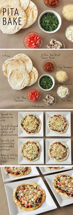 My New Alternative to Pizza Pita Bake HealthyEating EasyRecipe HealthyPizza Healthy Pizza Recipes, Diet Recipes, Healthy Snacks, Vegetarian Recipes, Cooking Recipes, Dinner Healthy, Healthy Dishes, Heathy Pizza, Snacks