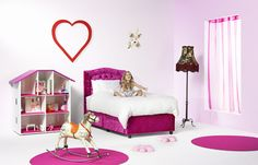 Pink boxspring in kids bedroom LOVE