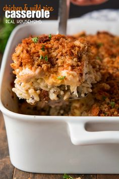Chicken & Wild Rice Casserole is the ultimate comfort food layered with flavorful rice, chicken, a cheesy sauce, and crispy stuffing. You can make it ahead of time and even freeze it!