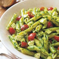 Penne with Salsa Verde, Mozzarella and Cherry Tomatoes  - Delish.com
