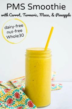 The next time you're experiencing a PMS headache, back ache, or cramps, try this anti-inflammatory PMS Smoothie with adaptogenic maca and pain-relieving pineapple and turmeric. Carrot helps detox excess estrogen. It's dairy-free, nut-free, and vegan or Whole30-friendly! #allthenourishingthings #pms #smoothie #turmeric #maca #hormonebalance #pmsrelief #antiinflammatory Pms Smoothie, Carrot Smoothie, Healthy Smoothies, Healthy Drinks, Smoothie Recipes, Juice Recipes, Drink Recipes, Healthy Snacks, Whole 30 Recipes