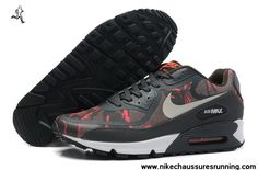 Chaussures Nike Air Max 90 2013 Differentiation Gris Blanc Orange Hommes Chaussures