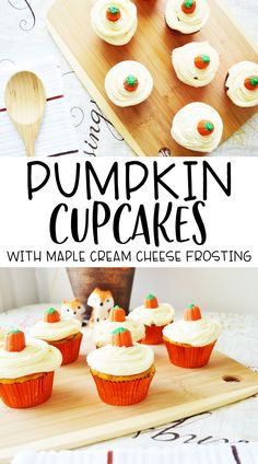 Pumpkin Cupcakes with Maple Cream Cheese Frosting - Planning Inspired