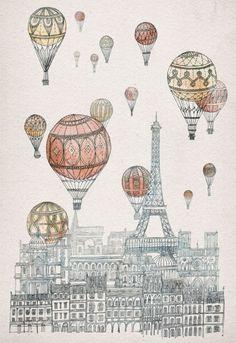 Volando sobre Paris.