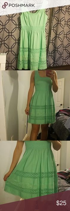 Mint green dress I wore this maybe twice so its in great shape it is beautiful and very flattering! The jessica simpson dresses are excellent, just trying to update my closet! I am always open to trades since all im going to do with my earning is get new cute stuff to wear! Jessica Simpson Dresses Midi