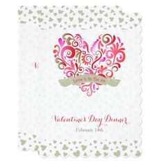 Valentine dinner invitations wording shop our store ornamental watercolor swirl heart valentines day party invitation stopboris Choice Image