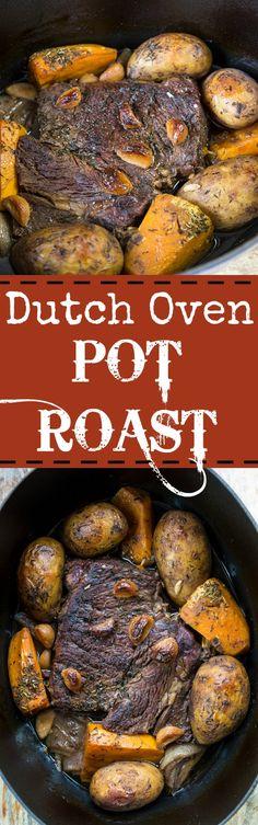 Dutch Oven Pot Roast – The Kitchen Magpie – Dinner Recipes Dutch Oven Recipes, Pot Roast Recipes, Beef Recipes, Dinner Recipes, Cooking Recipes, Oven Cooking, Dinner Ideas, Cooking Ideas, Pork