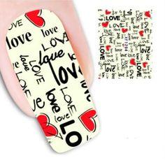 1 Pcs Fashion Love Design Nail Decals Water Transfer Nail Art Decorations Stickers Tips DIY Watermark Nail Art Accessories Tools
