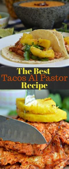 Tacos al Pastor - made with slow marinated pork, grilled to perfection, and ser. Tacos al Pa Authentic Mexican Recipes, Mexican Food Recipes, Dinner Recipes, Ethnic Recipes, Pork Recipes, Cooking Recipes, Healthy Recipes, Cooking Ham, Gastronomia