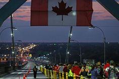 Runners run across the Ambassador Bridge toward Windsor, Ontario during the 2013 Detroit Free Press / Talmer Bank Marathon in Detroit on Sunday, Oct. Detroit Today, Windsor Ontario, Detroit Free Press, Marathon, Runners, Bridge, Fair Grounds, Sunday, Canada
