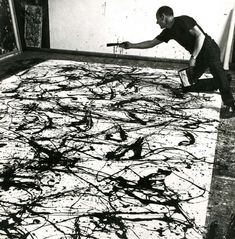 Jackson Pollock at work, 1945 More related posts: Jackson Pollock | Artists at work