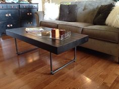 Modern, industrial handmade wood and steel pipe coffee table-Made in the USA on Etsy, $227.00