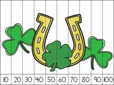 St. Patrick's Day Number Puzzle Freebie - counting by 10s