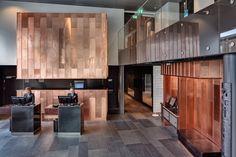 Radisson Blu Riverside by Doos Architects, copper in reception.