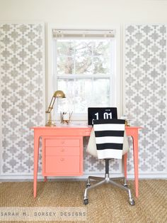 All this desk needed was a paint job and some updated hardware to become so cute. Get some DIY furniture tips from Sarah M Dorsey designs. Diy Furniture Hacks, Diy Pallet Furniture, Furniture Makeover, Painted Furniture, Desk Makeover, Coral Furniture, Interior Exterior, Interior Design, Color Interior