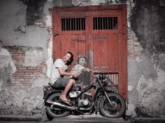 """""""Boy on a Bike"""" Mural by Ernest Zacharevic, Ah Quee Street, George Town, Penang, Malaysial"""