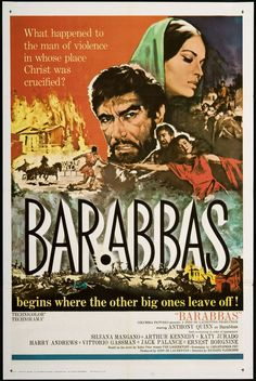 Barabbas (1961) Directed by #RichardFleischer Produced by #DinoDeLaurentiis Based on #Barabbas by #ParLagerkvist Starring #AnthonyQuinn #ArthurKennedy #JackPalance #SilvanaMangano #HarryAndrews #ErnestBorgnine #Hollywood #hollywood #picture #video #film #movie #cinema #epic #story #cine #films #theater #filming #opera #cinematic #flick #flicks #movies #moviemaking #movieposter #movielover #movieworld #movielovers #movienews #movieclips #moviemakers #animation #drama #filmmaking Paul Stewart, Joe Greene, Jack Palance, Ernest Borgnine, Cool Hand Luke, Anthony Quinn, Shirley Maclaine, Original Movie Posters, Film Noir