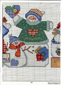 Snowmen have heart 2 Cross Stitch Books, Cross Stitch Needles, Cross Stitch Charts, Cross Stitch Patterns, Christmas Sewing, Christmas Embroidery, Christmas Cross, Xmas, Cross Stitching