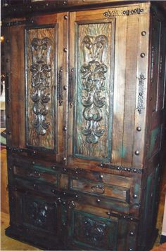 Pepe Carved Armoire from The Rustic Gallery #rusticfurniture #rustic