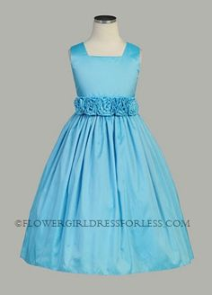 5206cc414c Flower Girl Dress Style 3047 - Choice of Color Square neckline with hand  rolled waist flowers