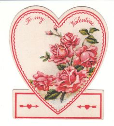 This Valentine, also 1920's, features pink roses, and it's very sweet.  (Would look great framed!) View from the Birdhouse: Weekend Window Shopping at Birdhouse Books - Children's Books and Vintage Valentines