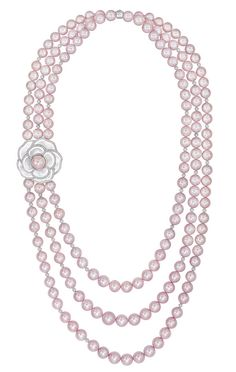 Diamond, freshwater pearl, and mother of pearl 'Camélia Nacré' necklace.