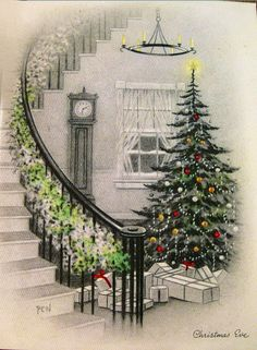 Vc-342 vintage greeting card face-christmas eve-tree,stairway,gifts-grinnell   ...Please save this pin.  Because for vintage collectibles - Click on the following link!.. http://www.ebay.com/usr/prestige_online