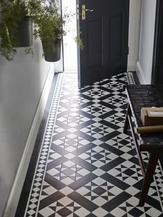 It With Patterned Vinyl Floor Tiles!Fake It With Patterned Vinyl Floor Tiles! Hall Tiles, Tiled Hallway, Blue Hallway, Hallway Closet, Upstairs Hallway, Hallway Storage, Hall Flooring, Kitchen Flooring, Flooring Tiles