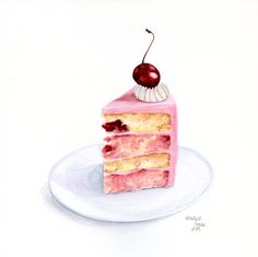 Piece of cherry cake ORIGINAL Painting Still por ForestSpiritArt